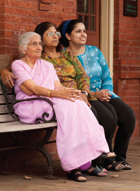 Image of 3 generations of Asian women